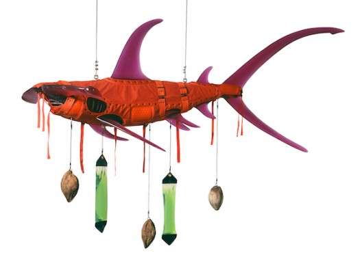 Ashley Bickerton Orange Shark (2008) Polyurethane resin, nylon, cotton webbing, stainless steel, scope, distilled water, coconuts, rope 60 x 108 x 60 inches 152.4 x 274.3 x 152.4 cm Edition of 3