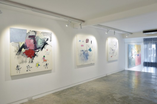 Installation view (second floor) of Will Thurman 'Life Paintings, Volume 1: 2015-2020' (image courtesy the artist and Galerie Quyhn)